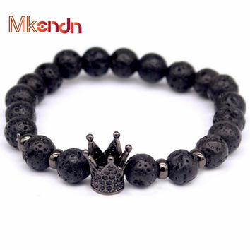 2016 New design Trendy Imperial Crown Charm Bracelets Men Natural Lava Stone Beads For Women Men Jewelry Pulseras Mujer