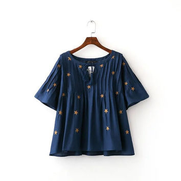 Summer Embroidery Leaf Dolls Tops [6332320772]
