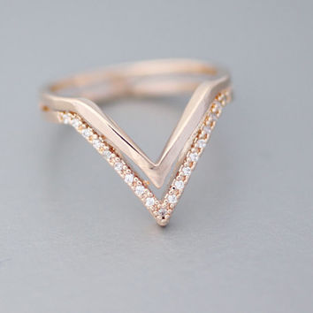 Double Chevron V Ring with CZ Cubic Zirconia in 3 colors - available color as listed( Gold, Silver, Pink Gold)