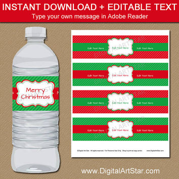 Christmas Water Bottle Label Template, Red and Green Holiday Water Bottle Labels, PRINTABLE Christmas Water Bottle Wraps Christmas Party C3