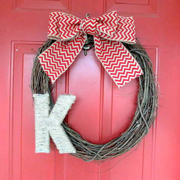 Jute Monogrammed Grapevine Wreath - Monogrammed Door Decor- Chevron Burlap Bow - Twine Letter - Red
