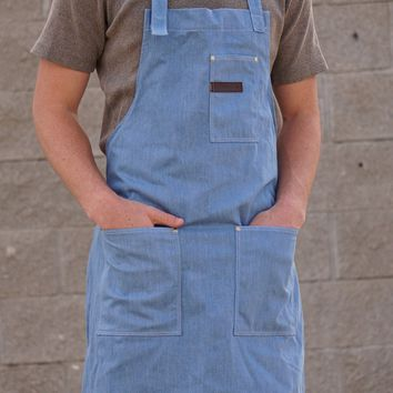 Denim Apron - Premium Cotton Denim Canvas with Leather and Brass Accents
