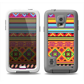 The Vector Gold & Purple Aztec Pattern V32 Samsung Galaxy S5 LifeProof Fre Case Skin Set