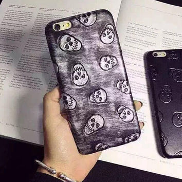 Retro Leather Skull iPhone 6 6s Plus Case