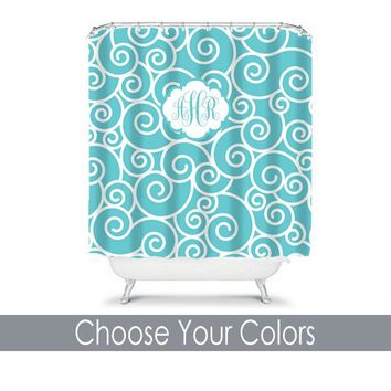 Aqua Swirl SHOWER CURTAIN Custom MONOGRAM Personalized Bathroom Decor Pattern Bathroom Bath Towel,  Bath Mat Made in Usa