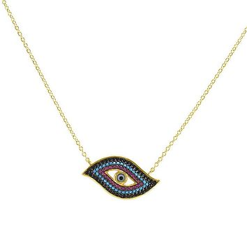 Orenem Multi Evil Eye Gold Pendant Necklace
