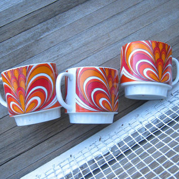 Set of 4 Orange Swirl Psychedelic Coffee Mugs; Original Carrier - Mod 1960s Swirly Orange/White/Red Mugs with Display Rack - Pedestal Mugs