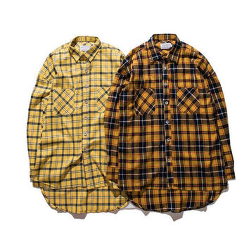 Plaid Hip Hop Shirts Men 2016 Streetwear Front Short Back Long Flannel Curved Hem Mens Shirt Long Sleeve  Justin Bieber