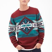 Southwestern-Patterned Sweater Burgundy/Green