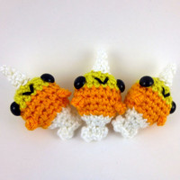 Limited Edition - Halloween Candy Corn Baby Narwhal - Ready to Ship - Crocheted Plushie