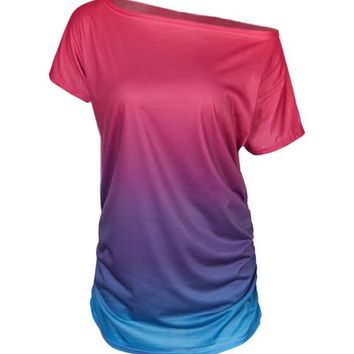 One Shoulder Tie Dye Colorful Ruched Women T Shirt Girl Summer fahsion Casual Tshirt Women Tee 2016 New Arrival