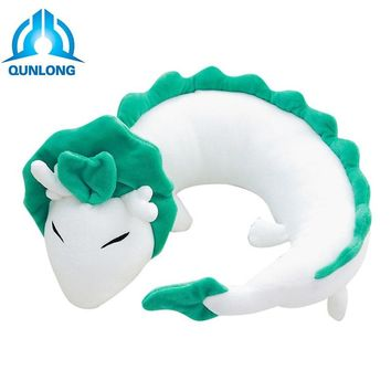 Qunlong 28*10cm U-shaped White Dragon Soft Plush Surrounded By Neck Pillow Cute Doll Stuffed Animal Toy For Kids Christmas Gift