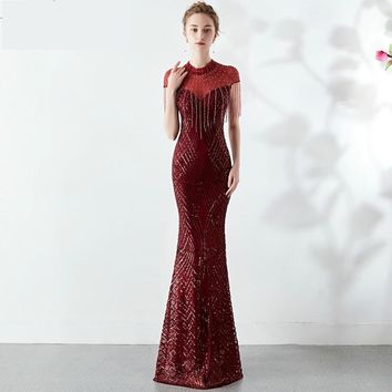Sequins See-through  Elegant Beaded Long Evening Party Dress