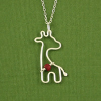 Giraffe Birthstone Necklace Sterling Silver Cable by Dragonfly65