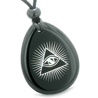Amulet Mystical All Seeing Eye of God Triple Powers Pyramid Black Agate Pendant Necklace