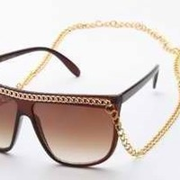 Graduation or Birthday Gift Lady Gaga Retro 80's Fun Brown Square Summer Sunglasses with Gold Chain for Both Women and Men