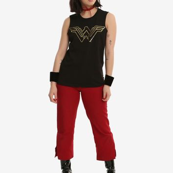 Licensed cool NEW DC  Wonder Woman Black Gold Logo Muscle Tank Top Tee Shirt JRS L NWT