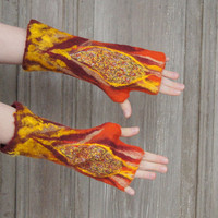 Hand felted mittens in orange, yellow and maroon, with wool curls and pieces of silk fabric . OOAK