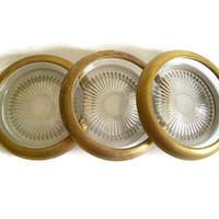 Vintage 60's Ashtrays Brass Rimmed Pressed Glass, Mid Century Decor, Set of 3, Trinket Dish