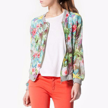 Green Tropical Print Buttoned Sweater