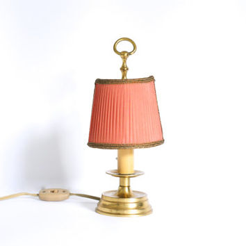 ANTIQUE BRASS LAMP, Tiny French Table or Bedside Lamp with Original Dark Pink or Red Fabric Half Shade, Made in France