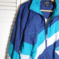 Blue Windbreaker Jacket Mens Vintage Clothes Pierre Cardin Nylon Size Large Chevron Athletic Clothing Track Sports Work Out Basketball