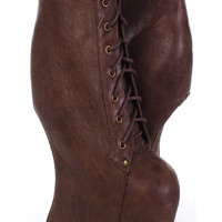 Brown Lace Up Front Foax Leather Curved Wedges