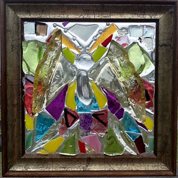 Butterfly stained Glass Mosaic Window Art Sun Catcher OOAK Handcrafted Unique gift Idea