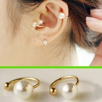 Simply Pearl Ear Clips Set (No Piercing, Adjustable)