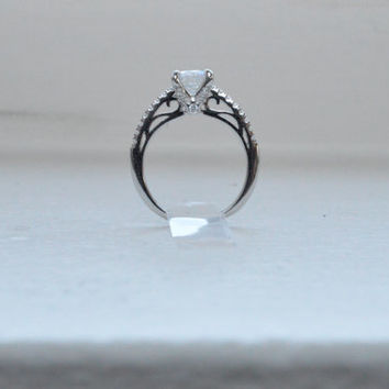Unique Engagement Ring - Solitaire Engagement Ring - Thin Engagement Ring - Promise Ring - Thin Band Ring - Micro Pave Ring - Round CZ Ring