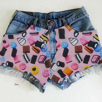 High Waisted Denim Shorts Liqourice Alsorts MADE TO ORDER