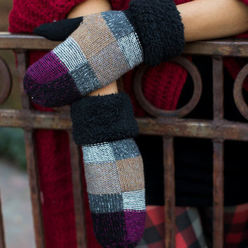 (Cyber Monday) Plaid Checkered Mittens Black