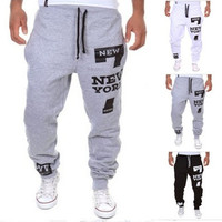 Black/Gray/White Men's Stylish Printing Casual Sports Pants Man Sports Joggers [9221784132]