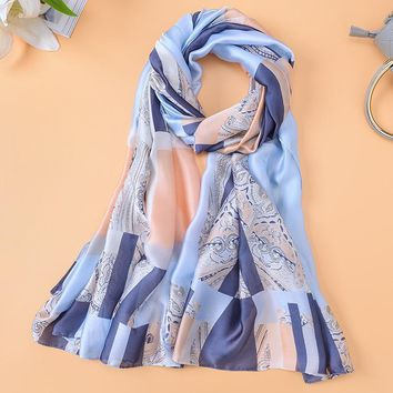 Plaid Scarves Women's Chian Print Silk Scarf For Lady Beach Cover Shawls Wrap bandanas Big Long Scarf