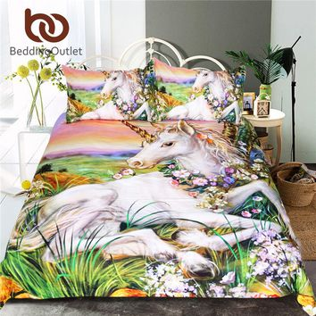 BeddingOutlet 3d Unicorn Bedding Set Queen Size Watercolor Print Bed Set Kids Girl Flower Duvet Cover Colored Dreamlike Bedlinen