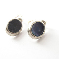 Dark navy blue oval earrings jewelry , silver earrings jewellery , nautical earrings ,  midnight blue black earrings, modern dangle earrings