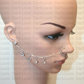 Nose chain,Nose ring with chains, Stainless steel,swavorski,21 Gauge Nose ring with chain,  also available in hypoallergenic chain on demand