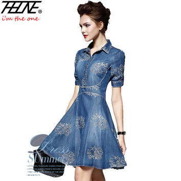 2016 Denim Dress Women Plus Size Tunic Slim Embroidery Summer Style Short Sleeve Slim Casual Jeans Dresses Vestidos Robe Femme