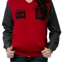 The Ladies Knit Baseball Jacket in True Red and Speckle Black