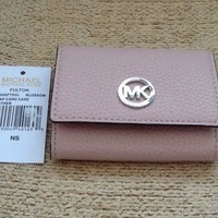 MICHAEL KORS MK Leather Blossom Pink & Silver Fulton Snap Card Case