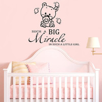 Wall Decal Vinyl Sticker Decals Art Decor Design Funny Bear Big Miracle Butterfly Baby Kids Children Game room Nursery (r859)