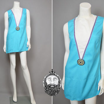 Vintage 60s Space Age Mini Mod Dress Sky Blue Shift Dress Gogo Dress Futuristic Sci Fi Dress 1960s Mini Dress Short Sixties Dress Micro