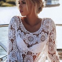 White Patchwork Lace Hollow-out See-through Long Sleeve Mini Dress