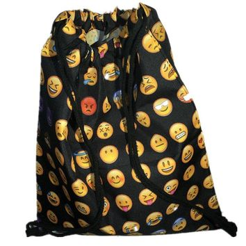 Emojis Patterns Drawstring Bags Cinch String Backpack