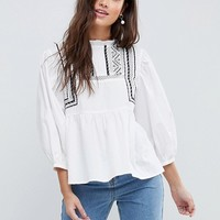 ASOS Cotton Victoriana Top with Contrast Lace Detail at asos.com