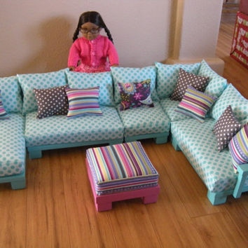 AVAILABLE For APRIL DELIVERY   Doll Couch Chairs Living Room Furniture  Sectional For American Girl Dolls
