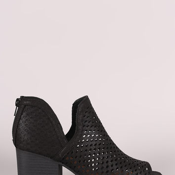 Qupid Vegan Suede Mesh Side Slit Block Heel Booties