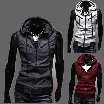 Summer Men Vest Stylish Zippers Hoodies Sleeveless Jacket [6528648515]