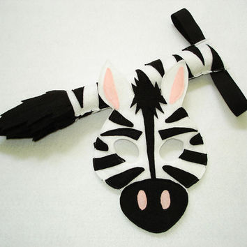 Children's Safari Animal ZEBRA Felt Mask and Tail Set