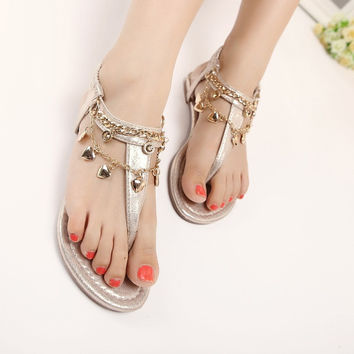 Summer Rhinestone With Heel Zippers Hair Clip Wedge Sandals = 4804988100